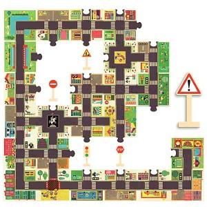 Puzzle Gigant - Ulica + znaki drogowe