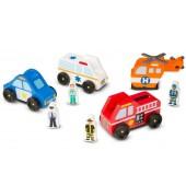 Zestaw drewnianych aut ratunkowych